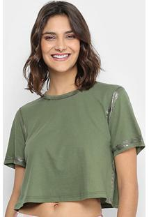 Camiseta Lança Perfume Cropped Contorno Metalizado Feminina - Feminino-Verde