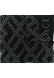 Versace Cachecol Com Padronagem Greek Key - Preto
