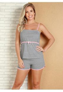 Pijama Mescla Com Costura Contrastante