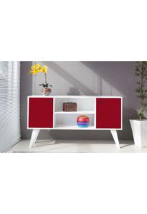 Armário Horizontal 02 Portas Com Prateleira Vermelho Cristal 135X38,5X73 Cm