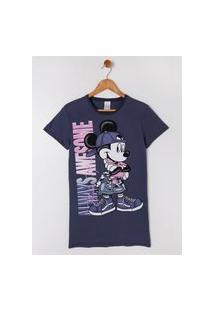 Vestido Disney Juvenil Para Menina - Cinza/Azul