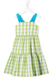 Il Gufo Vestido Evasê Xadrez - Verde
