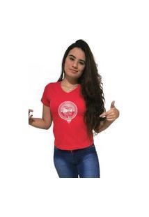 Camiseta Feminina Gola V Cellos Boom Box Premium Vermelho
