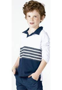 Camisa Polo Infantil Menino Flamê Com Mangas Longas E Estampa Puc       0e35e42ebd2ea