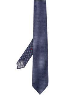 Dell'Oglio Gravata De Seda Com Padronagem De Poás - Azul