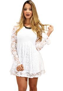 Vestido Racy Modas Godê De Renda E Manga Longa Flare Branco