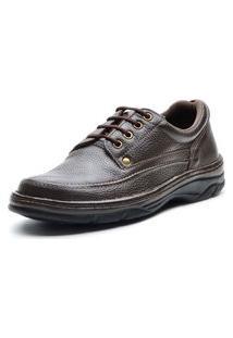 Sapato Conforto Galway Com Cadarço Couro Masculino Café