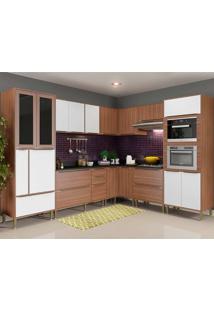 Cozinha Compacta Com Tampo 10 Peças 5461Mf Calábria - Multimóveis - Nogueira / Branco