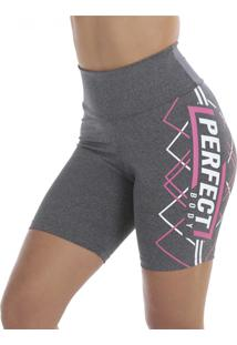 Bermuda Click Mais Bonita Fitness Silk Perfect Cinza