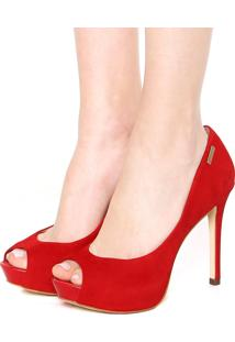 Peep Toe Dumond Textura Vermelho