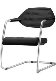 Cadeira Flex Com Bracos Assento Crepe Estofado Preto Base Fixa Cromada - 54792 Sun House