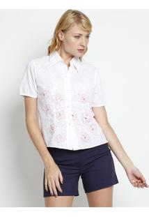 0711eced20 Camisa Bordada - Branca   Rosa Claro - Silk Lordsilk Lord