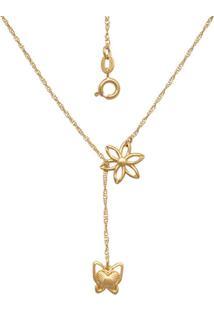 Gargantilha Prata Mil Com Flor E Borboleta Dourado