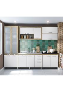 Cozinha Compacta La Paz 12 Pt 3 Gv Com Porta De Vidro Argila, Branco E Preto
