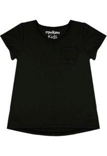 Blusa Infantil Baby Look Premium Rovitex Kids Feminina - Feminino-Preto