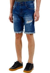 Bermuda John John Clássica Edimburgo 3D Jeans Azul Masculina (Jeans Medio, 36)