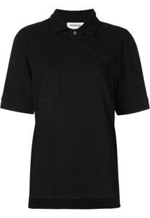 Monse Camisa Polo Assimétrica - Preto