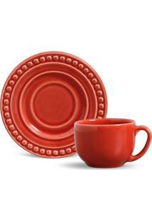 Xícara De Chá Com Pires Atenas Vermelho