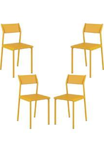 Conjunto 4 Cadeiras Tubo Amarelo Napa Amarelo Carraro