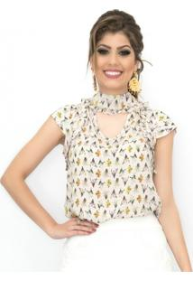 Blusa Miss Lady Viscose Floral Nude