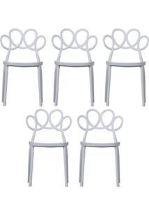 Kit 05 Cadeiras Decorativas Para Cozinha Laço Branco - Gran Belo