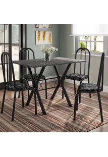 Conjunto De Mesa Miame 110 Cm Com 4 Cadeiras Madri Preto E Preto Floral