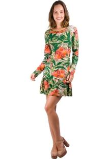 Vestido Banna Hanna Visco Costa De Fora Floral Verde/Laranja - Feminino