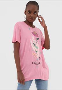 Camiseta Colcci Estampada Rosa - Kanui