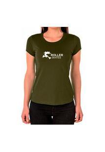 Camiseta Feminina Algodão Skates Confortável Leve Casual Verde
