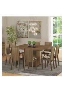 Conjunto Sala De Jantar Madesa Clarice Mesa Tampo De Madeira Com 8 Cadeiras Rustic/Floral Hibiscos