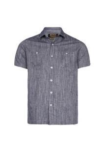 Camisas Khelf Camisa Masculina Chambray Flamê Azul Marinho