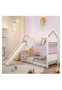Beliche Infantil Casa Adesivada Branca E Rosa Com Escorregador Casah