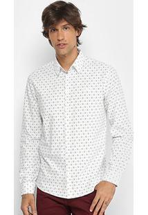 Camisa Manga Longa Colcci Slim Micro Estampa Masculina - Masculino-Off White