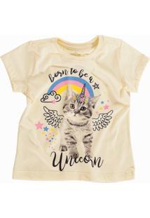 Camiseta Doll Up Gato Unicórnio Manga Curta Menina Amarela