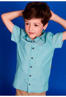 Camisa Infantil Menino Em Tecido Especial De Algodão Com Mangas Curtas - Especial Celebra Puc