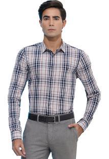 Camisa Slim Zaiko Xadrez Manga Longa 2109 Cinza