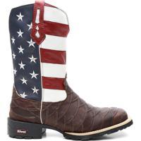 Bota Ellest Texana Bandeira Eua Bico Quadrado Escamada Masculina -  Masculino-Marrom+Azul 62972a92cfb13