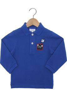 6c90978ec8308 Camisa Polo Lacoste Kids Manga Longa Menino Azul