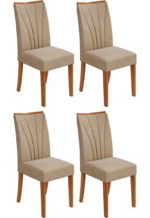 Conjunto Com 4 Cadeiras Apogeu Rovere E Creme