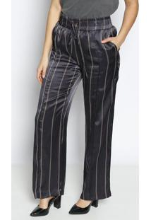 Calça Carol Pantalona Listrada Em Seda - Preta & Vermelhle Lis Blanc