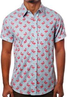 Camisa Camaleão Urbano Flamingos Havaiana Masculina - Masculino-Azul