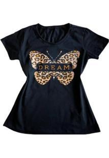 Camiseta Borboleta Oncinha Feminina - Feminino-Preto