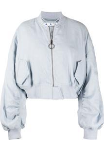 Off-White Blusa Cropped De Linho - Azul