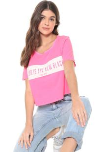 Camiseta Cropped My Favorite Thing(S) Neon Lettering Pink