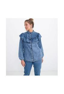 Camisa Jeans Manga Longa Lisa Com Gola Padre E Babados | Blue Steel | Azul | P