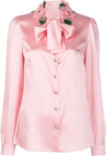 Dolce & Gabbana Rose Detail Pussy-Bow Blouse - Rosa