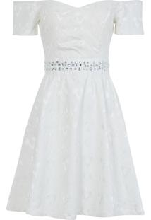 Vestido Trimx Com Chatons Off White