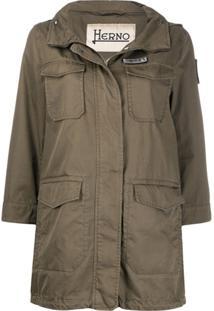 Herno Flap-Pocket Hooded Parka - Verde