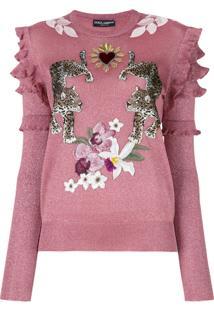 Dolce   Gabbana Suéter Com Aplicação - Pink   Purple 72c9d8df64