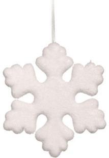 Enfeite De Floco De Neve Para Pendurar- Branco- 20X2Cromus